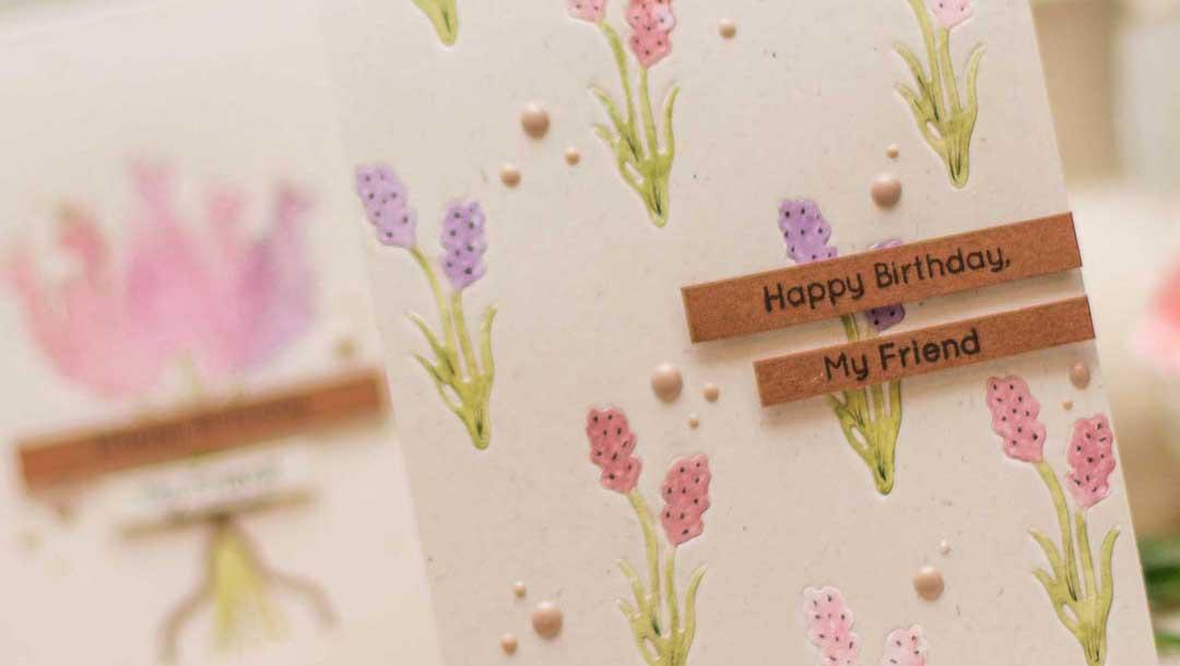Spellbinders | Lavender & Poppies Inspiration | Dry Embossing with Elena using S3-290 Lavender Bunch S5-321 Eau De Lavender Label #spellbinders #cardmaking