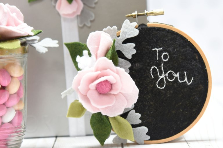 DIY Party Decor Series - Decorating Packages with Felt Flowers-Finale with Debi Adams for Spellbinders using S3-303-Little Plants SR-037 Simple Anemones SR-038 Positively Peony #spellbinders #neverstopmaking #handmadeflowers #diecutting
