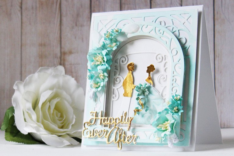 Elegant 3D Vignettes Collection by Becca Feeken Inspiration   Gift Bag & Happily Ever After Card with Hussena using S3-314 Petite Double Bow and Flowers S4-865 Layered Happily Ever After S4-867 Cinch and Go Flowers III, S4-869 Tiered Rosettes, S5-340 Ornamental Arch, S5-343 Filigree Veil, S6-136 Grand Dome 3D Card, S6-138 Grand Arch 3D Card dies #cardmaking #papercrafting #diecutting #handmadecard