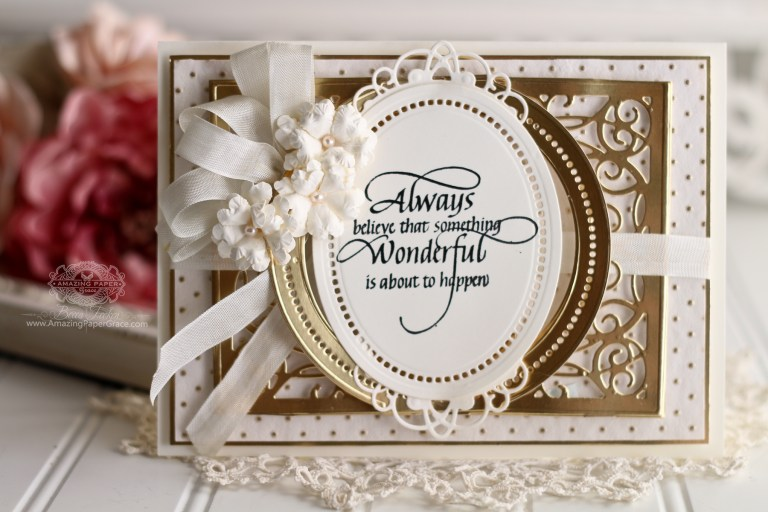 3D Vignettes | From 3D to Flat and Fabulous by Becca Feeken for Spellbinders using S6-136 Grand Dome 3D Card, S5-332 Hemstitch Ovals and S4-867 Cinch and Go Flowers III #Spellbinders #Diecutting #Stamping #Handmadecards