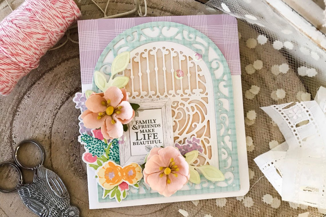 Elegant 3D Vignettes collection by Becca Feeken Inspiration   Ornamental Arch Card with Melissa Phillips using S5-340 Ornamental Arch, S4-867 Cinch and Go Flowers III dies #spellbinders #diecutting #handmadecard #neverstopmaking
