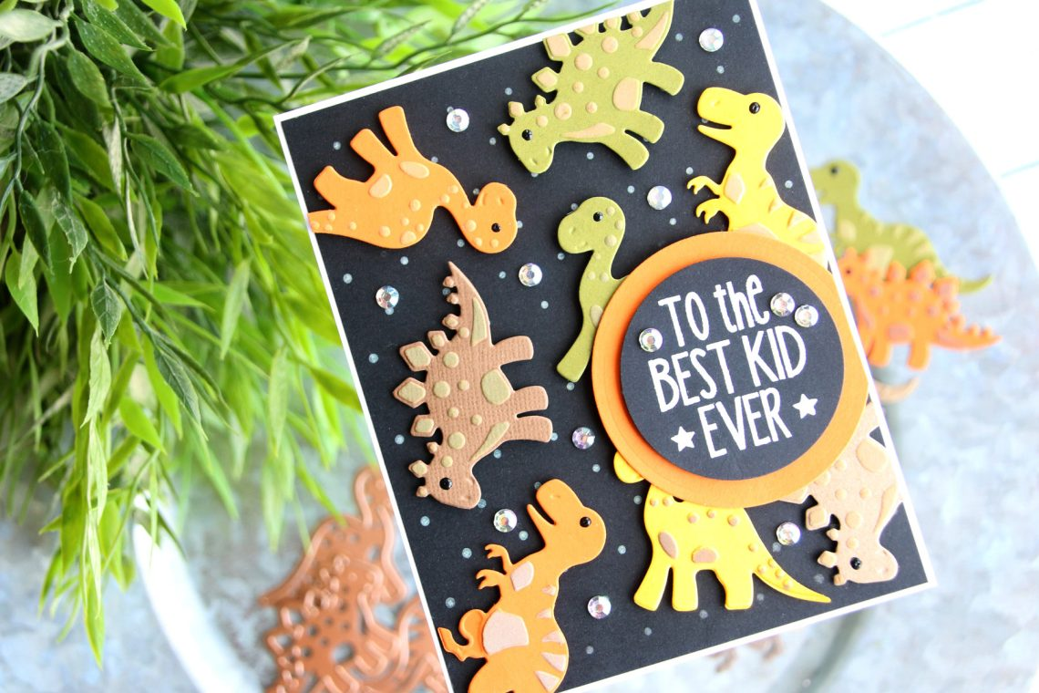 Die D-Lites Inspiration | Pandas and Dinosaurs with Brenda for Spellbinders using S3-318 Build A Panda and S3-317 Dinosaurs dies #spellbinders #cardmaking #diecutting #handmadecard
