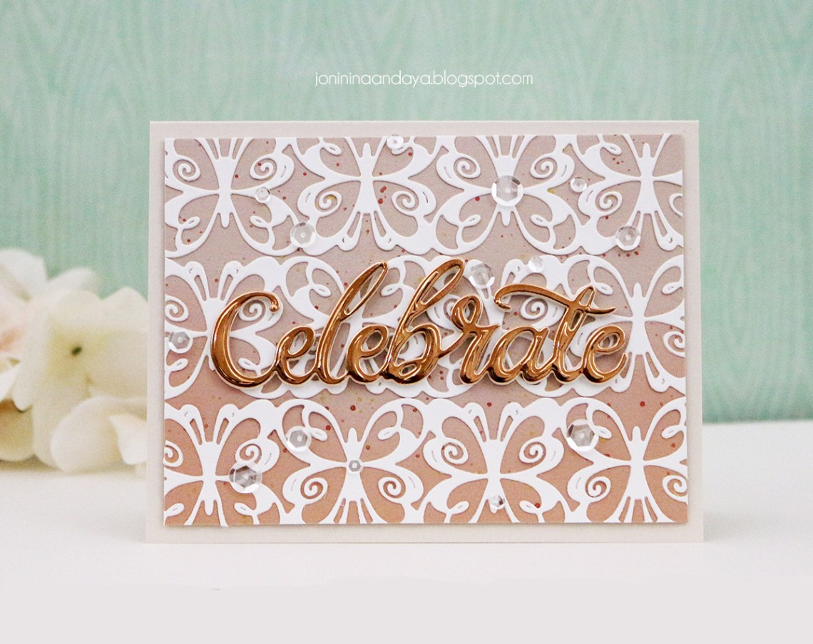 Wings of Love by Joanne Fink - Inspiration   Celebrate Card with Joni for Spellbinders using: S4-888 Words, S4-901 Hearts and Butterflies Border. #spellbinders #neverstopmaking #diecutting #handmadecard #celebratecard