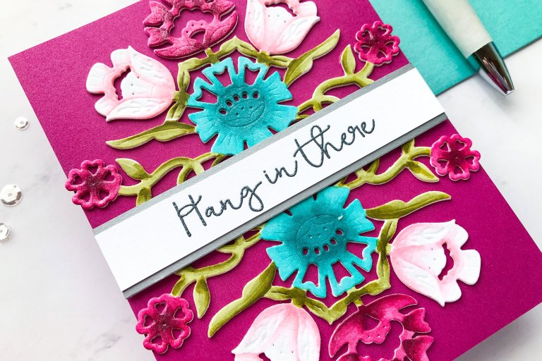Folk Art Collection by Lene Lok - Inspiration   Floral Bouquet by Emily Midgett for Spellbinders using S4-897 Floral Bouquet dies #spellbinders #neverstopmaking #diecutting #handmadecard #diecut #copiccoloring
