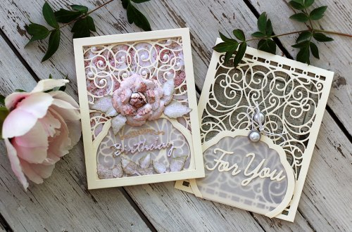 Video Friday | Shabby Chic Cards with Olga Direktorenko for Spellbinders using: S4-563 Phrase Set One, S4-564 Phrase Set Two, S4-916 Blooming Rose, S4-930 Curvy Labels, S5-131 A-2 Matting Basics A, S5-366 Swirl Background, SDS-134 Wine Glass Bottle Tag #spellbinders #diecutting #handmadecard #neverstopmaking #amazingpapergrace