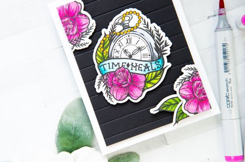Spellbinders Inked Messages Collection Inspiration   Time Heals Card Featuring One Day At A Time Stamp and Die Set #spellbinders #neverstopmaking #stamping #cardmaking