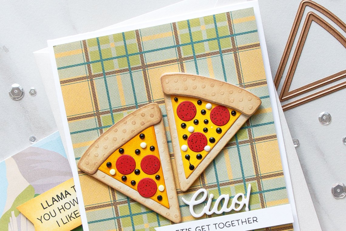 Cardmaking Inspiration   Let's Get Together Card Featuring Party Food by Yana Smakula for Spellbinders. S3-321 Party Food #spellbinders #cardmaking #diecutting #handmadecard #neverstopmaking