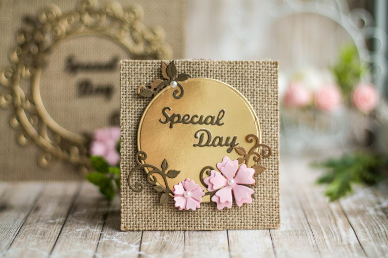 Spellbinders Special Moments Collection by Maria Job - Inspiration   Burlap and Gold Cards with Elena featuring: S5-374 Special Day Frame, S5-376 Miss You Swirl, S5-378 Floral Oval, PLP-003 Platinum Pack 3, PLP-001 Platinum Pack 1 #spellbinders #diecutting #neverstopmaking #handmadecard