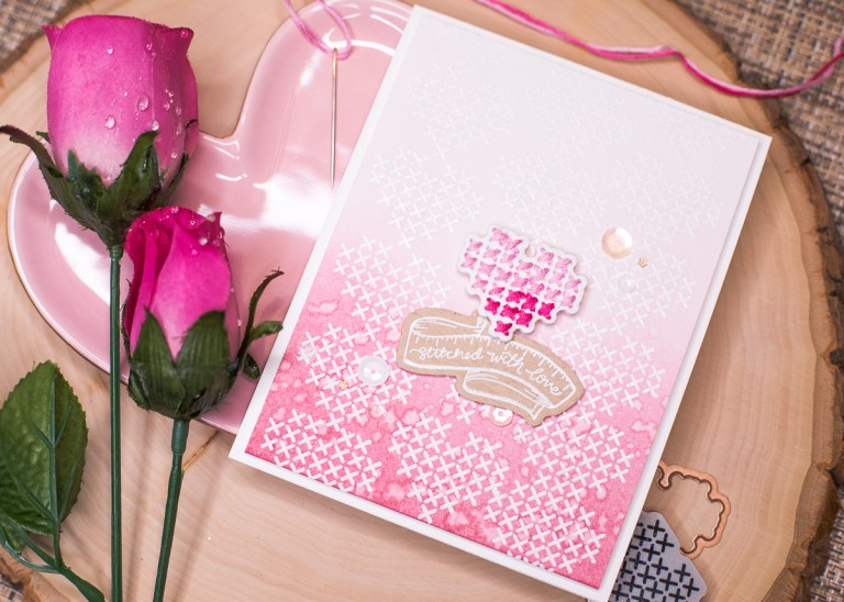 Spellbinders - Handmade Collection by Stephanie Low - Inspiration | Hand Stitched Love Card by Jenny Colacicco #spellbinders #stamping #neverstopmaking