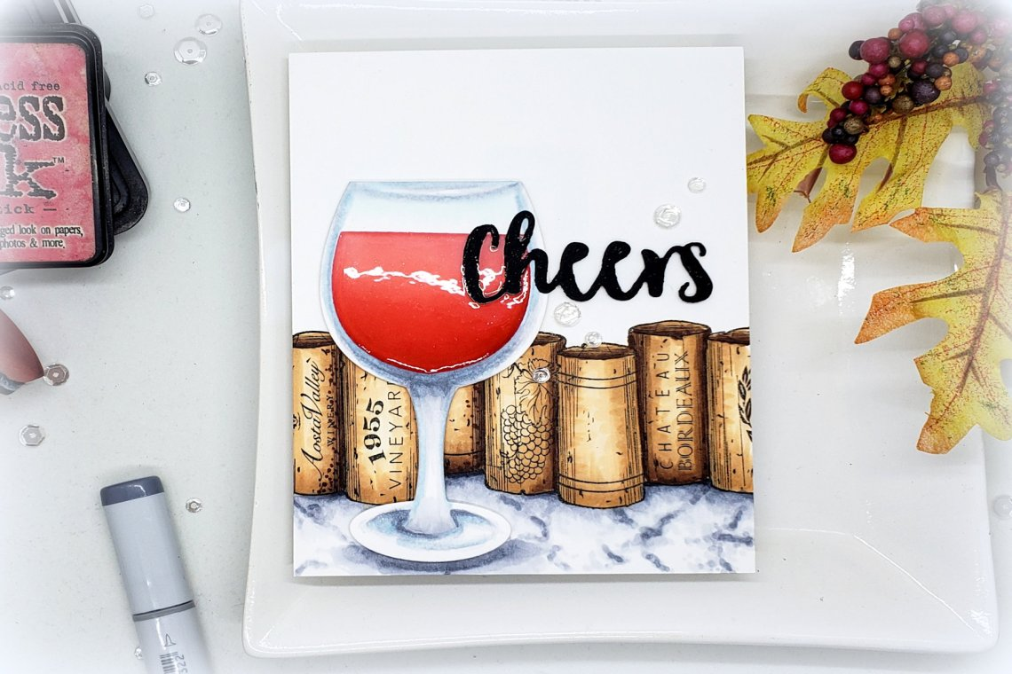Video Friday | Copic Coloring Marble with Kelly Latevola featuring SDS-132 Wine Corks,SDS-134 Wine Glass Bottle Tag #spellbinders #neverstopmaking #diecutting #stamping #copiccoloring