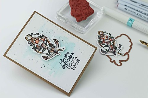 Spellbinders Inked Messages Collection by Stephanie Low - Inspiration | Skillful Sailor Cards with Bibi Cameron featuring SDS-136 Rough Waters #spellbinders #stamping #patternstamping #cardmaking #handmadecard #neverstopmaking