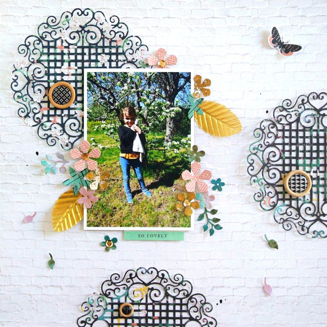 Spellbinders - Blooming Garden Collection by Marisa Job - Inspiration | Feminine Layout with Elodie S3-335 Rose Buds, S4-917 Swirl Lattice Panel, S6-147 Hexagon Petal Box #spellbinders #diecutting #scrapbooking #neverstopmaking