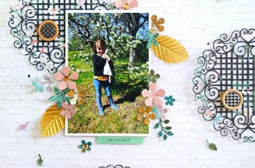 Spellbinders - Blooming Garden Collection by Marisa Job - Inspiration   Feminine Layout with Elodie S3-335 Rose Buds, S4-917 Swirl Lattice Panel, S6-147 Hexagon Petal Box #spellbinders #diecutting #scrapbooking #neverstopmaking