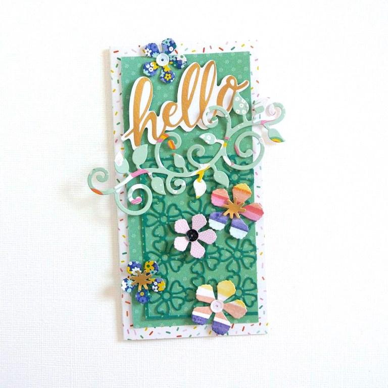 Spellbinders Blooming Garden Collection by Marisa Job   Hello Cards with Elodie featuring S2-296 Swirl Leaf Branch, S3-335 Rose Buds, S5-358 Swirl Happy, Birthday Frame, S6-146 Heart Flower Box #spellbinders #marisajob #diecutting #handmadecard #neverstopmaking #diecut