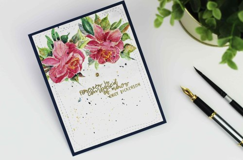 Spellbinders Inked Messages Collection by Stephanie Low - Inspiration | Watercolor Roses with Bibi Cameron featuring SDS-139 A Rose Any Other Name, SDS-138 Grow Newer With Me #cardmaking #stamping #stephanielow #neverstopmaking #spellbinders