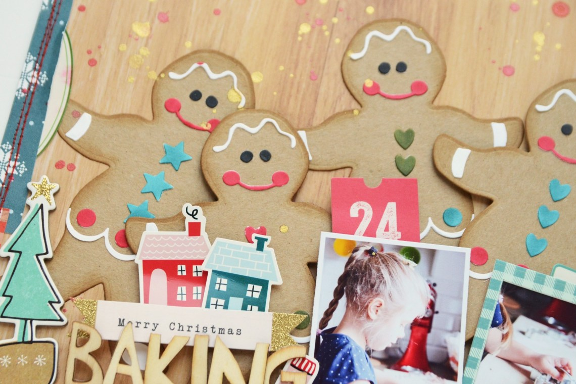 Spellbinders A Sweet Christmas Collection by Saharan Sowell - Inspiration   Baking Cookies Layout with Anna featuring S4-940 Gingerbread Boy Garland Tag #spellbinders #diecutting #neverstopmaking #sharynsowell