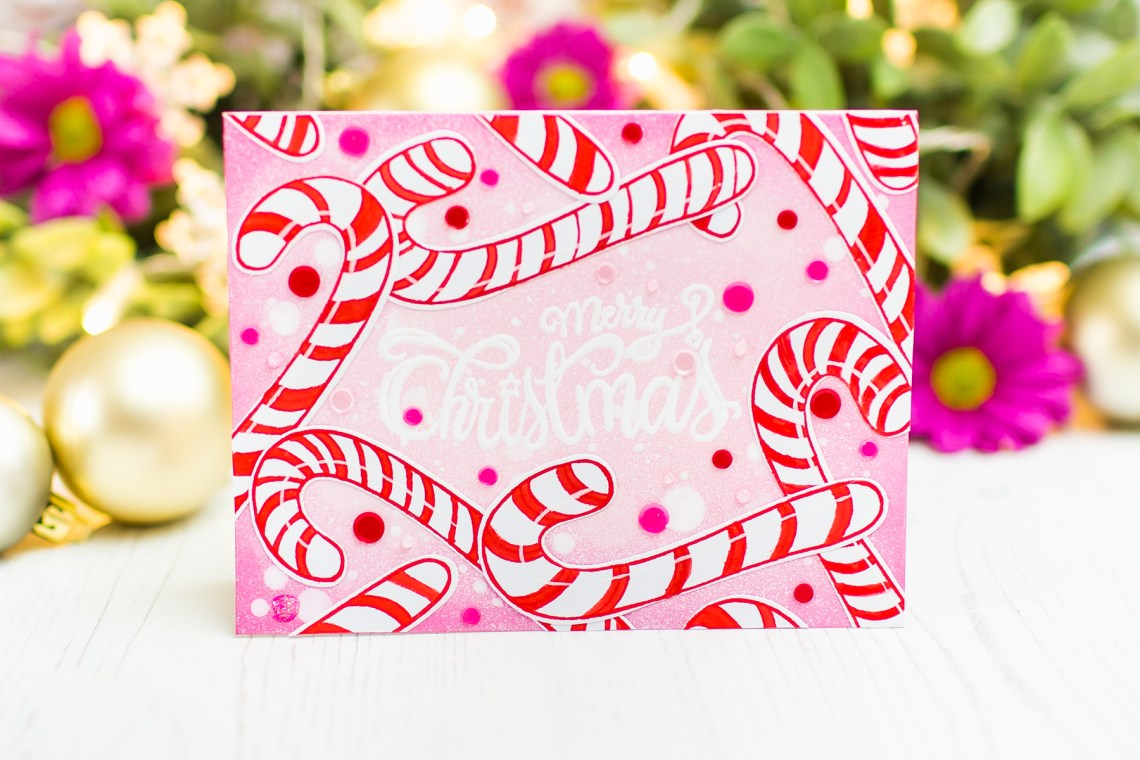 Spellbinders Zenspired Holidays Collection by Joanne Fink - Inspiration | Merry Christmas Card with Mona Toth featuring SBS-165 Christmas Sentiments, SDS-162 Christmas Candy Canes #spellbinders #neverstopmaking