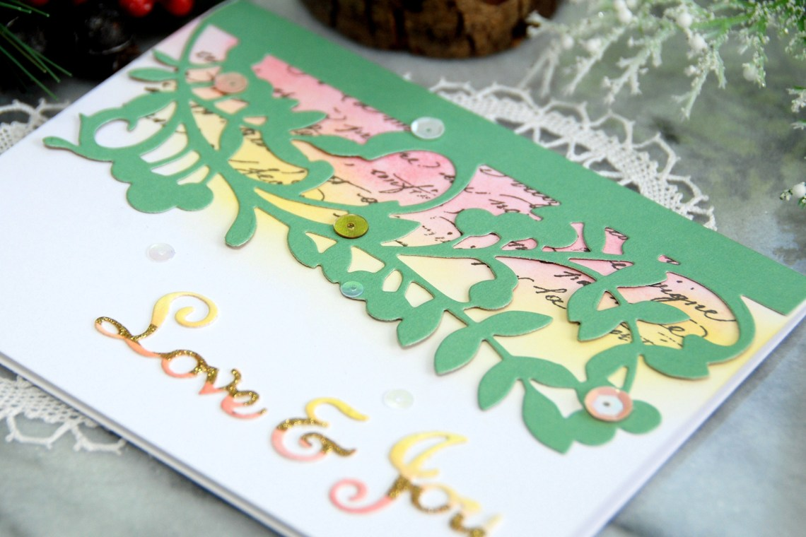 Spellbinders A Sweet Christmas Collection by Sharyn Sowell - Inspiration   Love & Joy Card with Virginia Lu #spellbinders #diecutting #neverstopmaking #sharynsowell