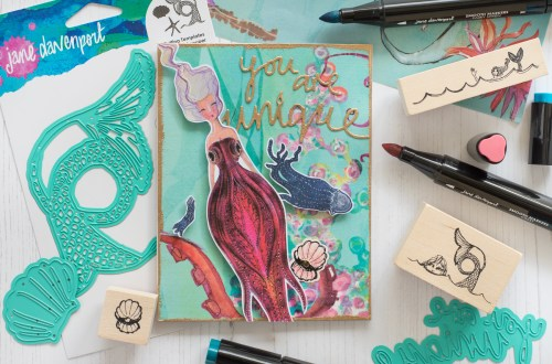 Spellbinders Jane Davenport Artomology | You Are Unique Mixed Media Card with Flóra Mónika Farkas #janedavenport #janedavenportartomology #Artomology #spellbinders #neverstopmaking #smoothmarkers #makeitwithmichaels #washisheets