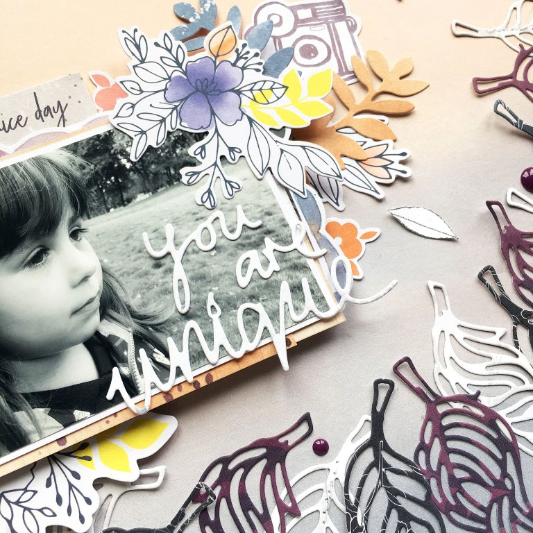 Spellbinders Jane Davenport Artomology | You Are Unique Mixed Media Layout with Enza Gudor featuring JD-031 Deep Sea Die Cutting and Embossing Machine, JDD-026 Fair Feathers, JDD-005 You are Unique  #janedavenport #janedavenportartomology #Artomology #spellbinders #neverstopmaking #makeitwithmichaels