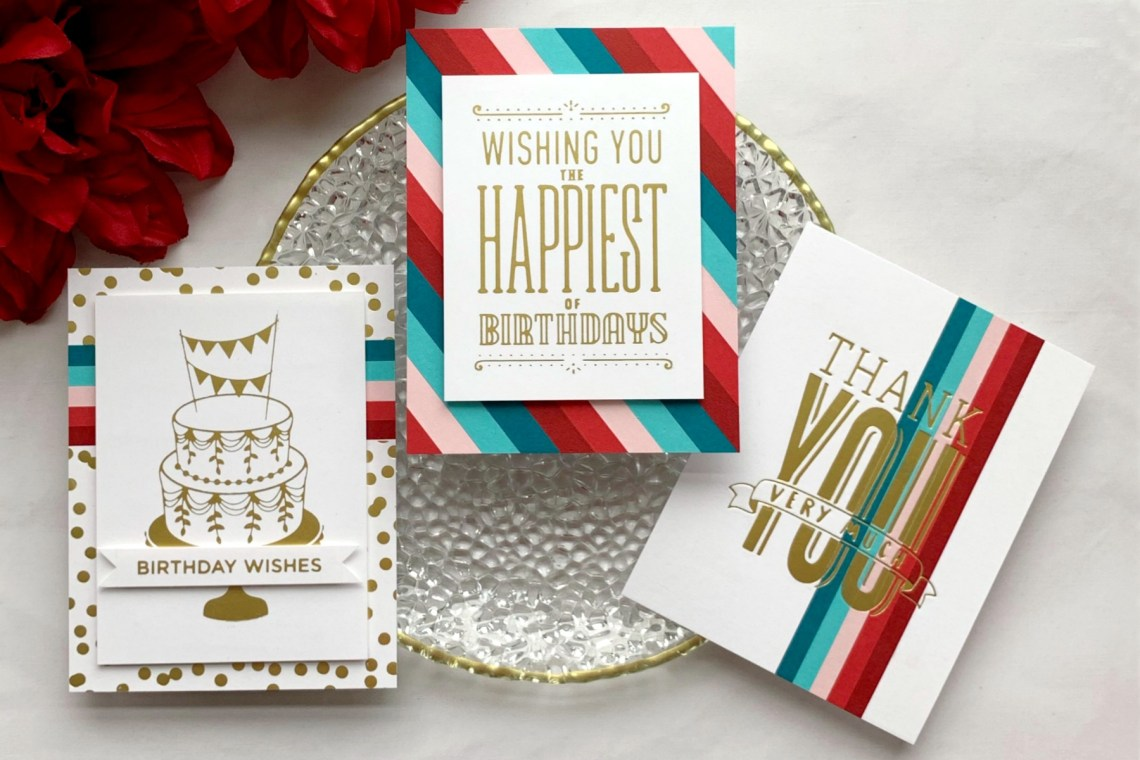 Spellbinders Glimmer Hot Foil Inspiration | Hot Foil Card Trio with Janette Kausen