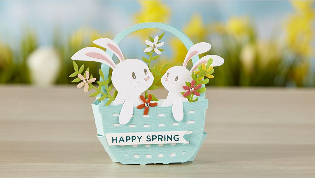 Spellbinders March 2020 Large Die of the Month is Here – Basket Full of Bunnies #SpellbindersClubKits #DieCutting #NeverStopMaking