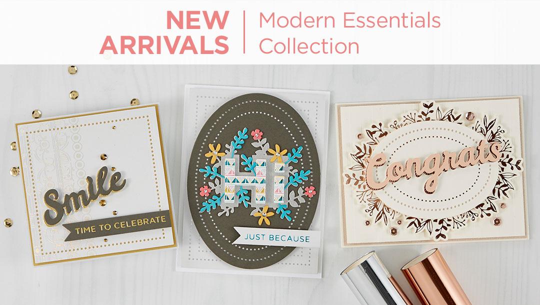 What's New at Spellbinders | Modern Essentials Collection #Spellbinders #NeverStopMaking #DieCutting #Cardmaking #GlimmerHotFoilSystem