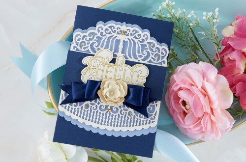 Spellbinders Cardmaking Inspiration | Hello Card Featuring Candlewick Colonnade Border with Kim Kesti #Spellbinders #NeverStopMaking #GlimmerHotFoilSystem