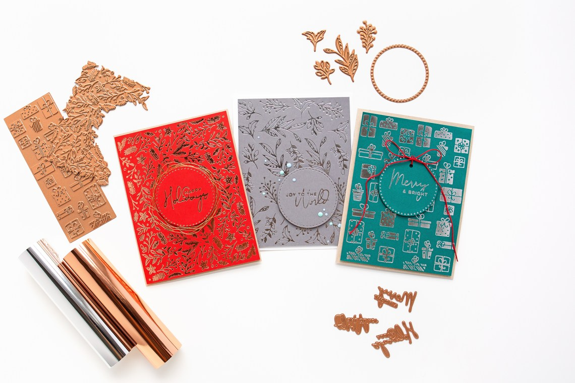 Trio Of Foiled Background Christmas Cards With Jung Ahsang featuring Spellbinders Christmas Foiled Basics collection by Yana Smakula #Spellbinders #NeverStopMaking #GlimmerHotFoilSystem #cardmaking