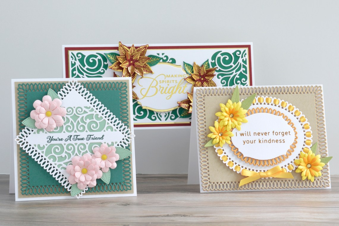 Spellbinders Becca Feeken Picot Petite Collection - Cardmaking Inspiration with Annie Wiliams. #Spellbinders #NeverStopMaking #AmazingPaperGrace #DieCutting #Cardmaking