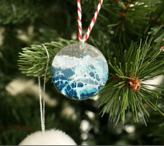 spellbound travels ocean wave christmas ornament