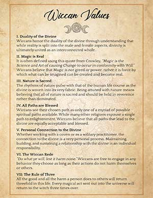 Printable Grimoire Wiccan Values