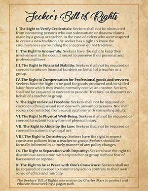 Seekers Bill of Rights Wiccan Printable