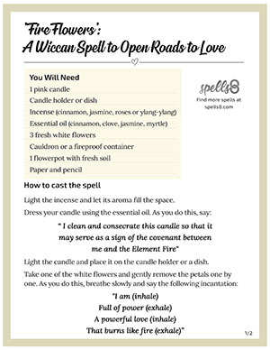 Click to Print 'Fire Flowers': A Wiccan Love Spell with Candle