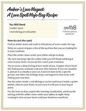 Print it: Amber's Magnet Love Spell Mojo Bag