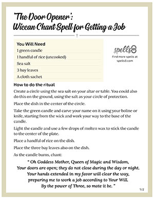 Wiccan Chant Spell for Getting a Job - Spells8