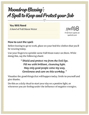 Print it: Moondrop Blessing, a Spell to Keep and Protect your Job
