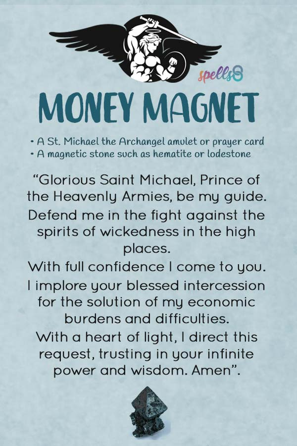 image about St. Michael the Archangel Prayer Printable referred to as Revenue Magnet: A Catholic Ritual for Pressing Desires
