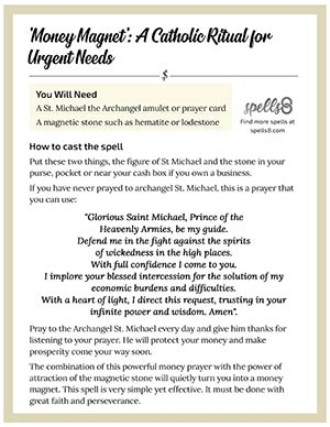 picture regarding St. Michael the Archangel Prayer Printable known as Dollars Magnet: A Catholic Ritual for Pressing Requirements