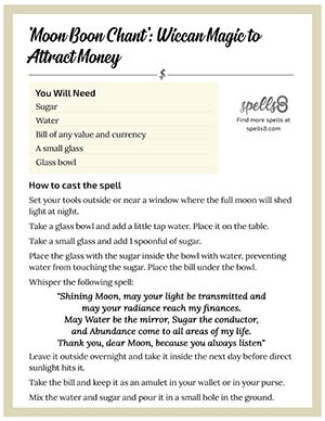 Print it: 'Moon Boon Chant' Wiccan Money Spell