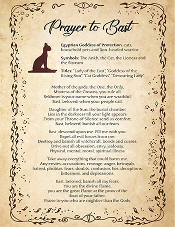 Bast Prayer Against Witchcraft - The Egyptian Cat Goddess
