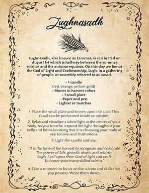 Lammas Wiccan Sabbat Celebration Printable Page