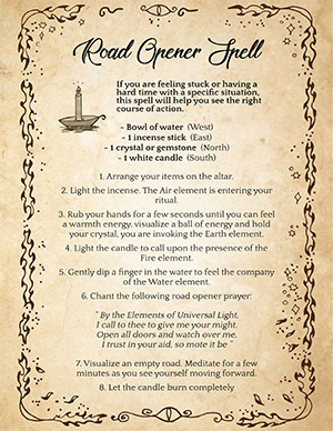 Road Opener Recipe and Spell