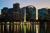 Enjoying a nighttime walk in downtown Orlando, FL.