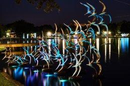 Lake Eola, Orlando, FL sculpture with uplighting.