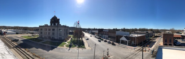 The view from the roof of our building overlooking downtown Spencer