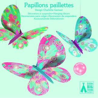 Djeco Hanging Decorations – Glitter Butterflies