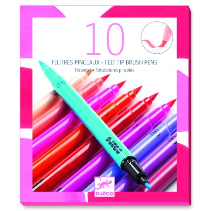 Djeco Felt Tip Brush Pens – 10 Sweet Colours