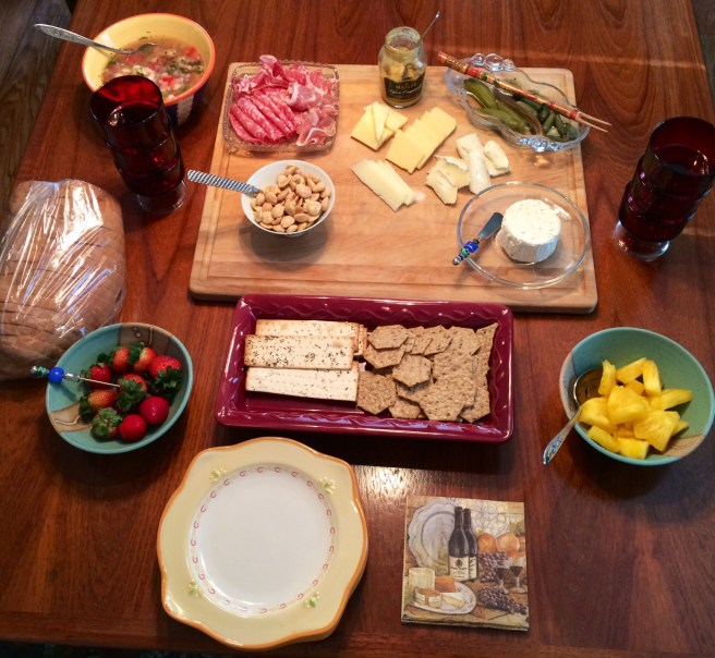 Pictured: Shrimp Ceviche, Prosciutto, Cappicola, Calabrese Salami, Rosemary & Sea Salt Marcona Almonds, Dijon Mustard, Aged White Cheddar, Fontina, Manchego, Brie, Pickled Okra, Cornichons, Herbed Boursin, Fresh Pineapple, Multigrain & Flatbread Crackers, Strawberries and fresh Italian bread