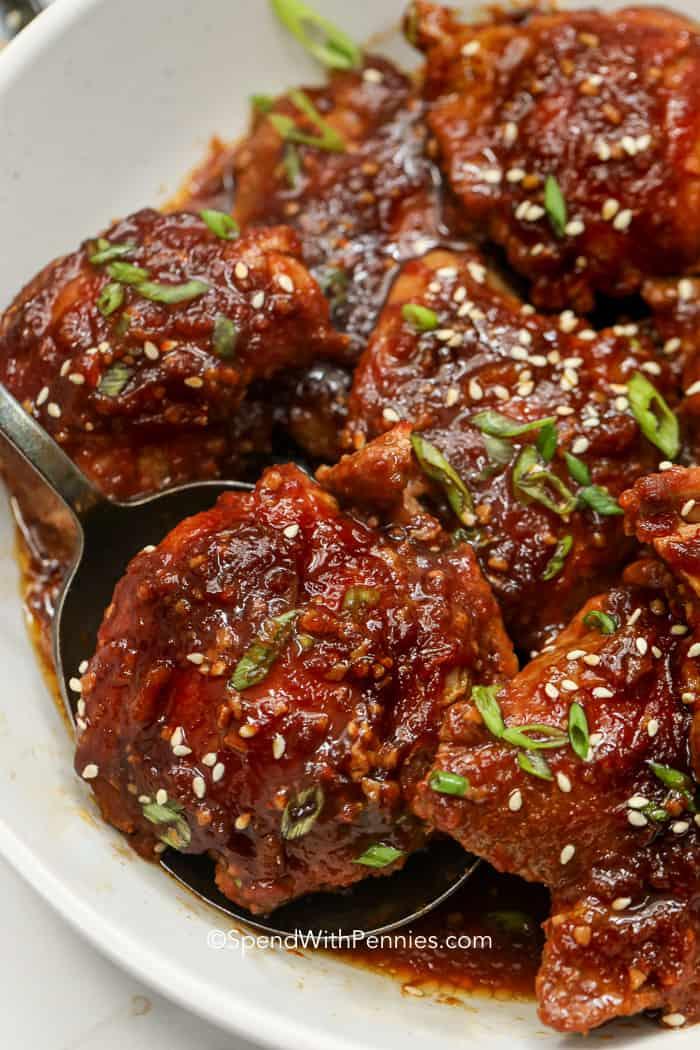 Crock Pot Recipe For Boneless Chicken Thighs : crock, recipe, boneless, chicken, thighs, Crock, Chicken, Thighs, {Sweet, Spicy, Sauce}, Spend, Pennies